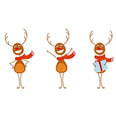 Contour deer set vector