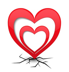 Icon with heart and cracks vector