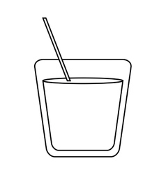 Glass cocktail drink straw outline vector