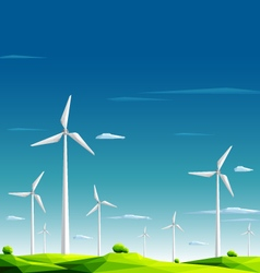 Wind farm in green fields on blue sky background vector