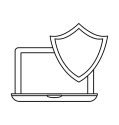 Laptop shield server banner icon vector