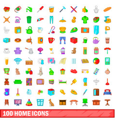 100 home icons set cartoon style vector