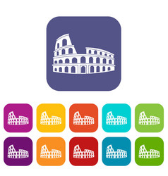 roman colosseum icons set vector image