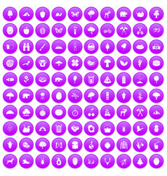 100 camping and nature icons set purple vector