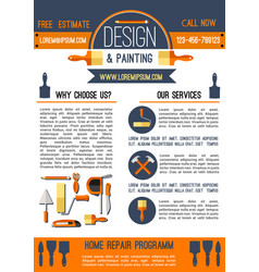 home repair and painting poster template design vector image