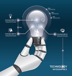 Infographic template with robot hand hold light vector