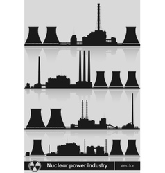 Nuclear power plants silhouette vector