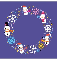 Christmas snowman snowflakes winter holiday vector