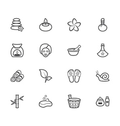 Spa element black icon set on white background vector