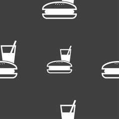Lunch box icon sign seamless pattern on a gray vector