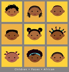 Set cute faces african children flat style vector
