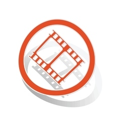 Movie sign sticker orange vector