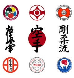 Set of images of styles of karate and hieroglyphs vector