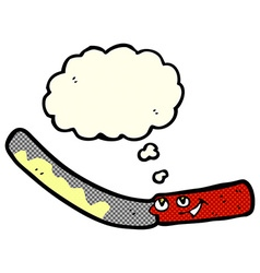 Cartoon butter knife with thought bubble vector