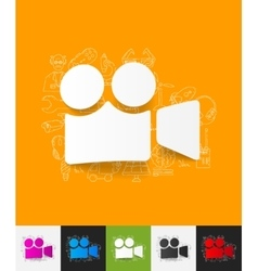 Video paper sticker with hand drawn elements vector