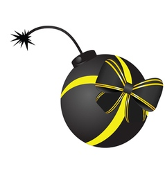 Bomb with bow vector