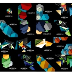 Set of geometrical abstract black backgrounds with vector
