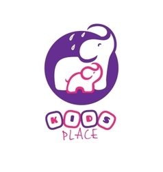 cartoon elephant logo Mother and baby vector image
