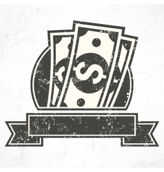 Paper bank notes money signs in grey vector