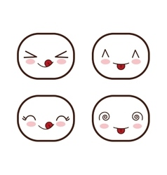 Face design icon set expression vector
