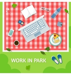 Work in park with a computer vector