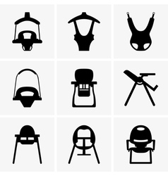 Baby walkers and chairs vector