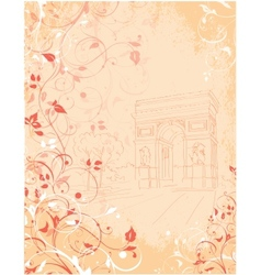 Background arc de triomphe paris france vector