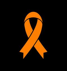 black awareness ribbon sign orange icon on black vector image vector image