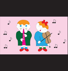 Boy and girl playing a melody on a musical vector