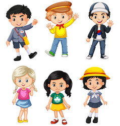 boys and girls from different countries vector image