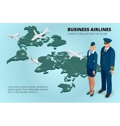 Business airlines planes flying around the globe vector