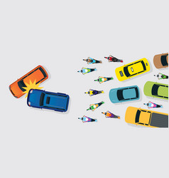Cars accident with traffic jam top or above view vector