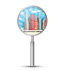 City in Magnifying Glass Isolated on White vector image vector image