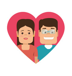 Color silhouette with heart shape with couple vector
