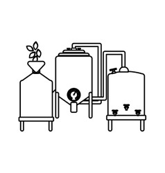 Contour beer tanks icon image design vector