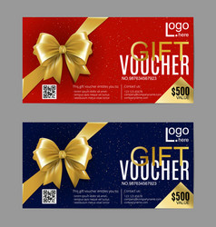 Gift card layout template with golden bow ribbon vector