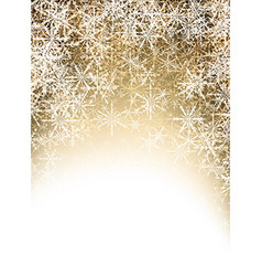Golden winter background with snowflakes vector