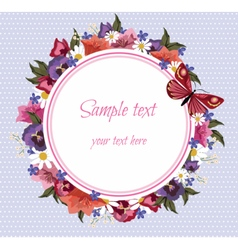 Greeting Card with Spring Summer colorful Flowers vector image vector image