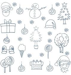 Hand draw christmas set design vector image