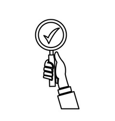 Hand holding loupe search check list line vector
