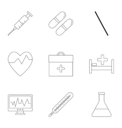 Healing icons set outline style vector