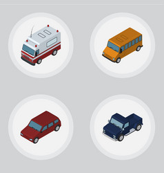 Isometric automobile set of autobus first-aid vector