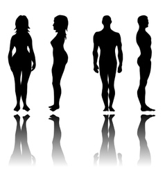 Man and woman in front and side view vector image