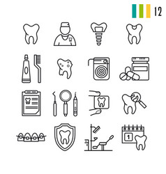 outline set of dental icons vector image