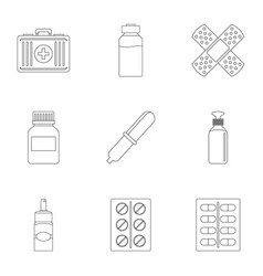 Pharmacy icon set outline style vector