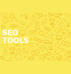 seo tools background with line icons vector image vector image