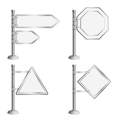 Set Poles with Traffic Signs vector image