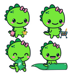 set with a dinosaur a dinosaur with money vector image vector image