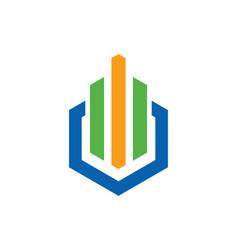 Shape business finance line colored logo vector