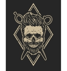 Skull with a beard and a stylish haircut vector